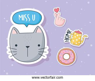 cute cat donut kettle and hand love stuff for cards stickers or patches decoration cartoon