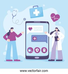 telemedicine, smartphone medical practitioner give consultation, online discussion with patient