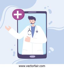 online doctor, male doctor with stethoscope, smartphone medical advice or consultation service
