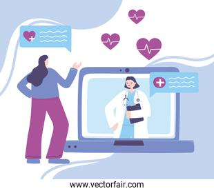 online doctor, patient woman and female doctor in laptop, medical advice or consultation service