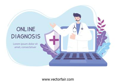 online doctor, practitioner with online medical consultation laptop medical advice