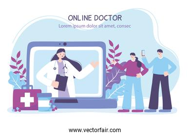 online doctor, couple with smartphone and female doctor in laptop, medical advice or consultation service