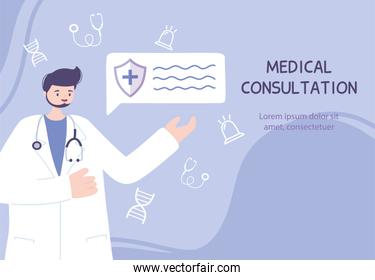 online doctor, male physician character medical advice or consultation service
