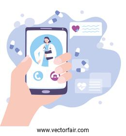 online doctor, hand with female doctor smartphone in call medical advice or consultation service