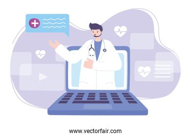 online doctor, doctor in video laptop medical advice or consultation service