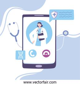 online doctor, female practitioner with stethoscope on the smartphone screen medical advice or consultation service