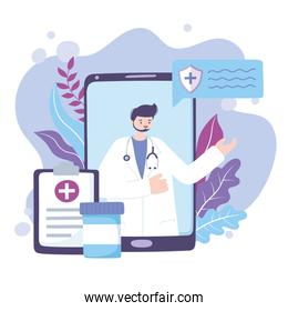online doctor, doctor smartphone medical report and medication advice or consultation service