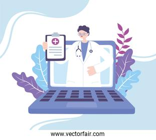 online doctor, physician in laptop is showing medical report recommendations, advice or consultation service