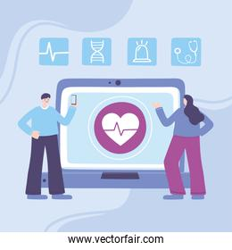 online doctor, patients with smartphone, laptop medical advice or consultation service