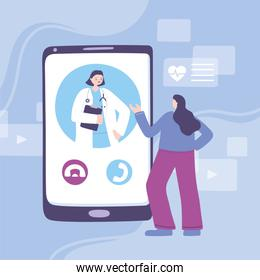 online doctor, female practitioner and patient smartphone, medical advice or consultation service