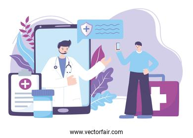 online doctor, smartphone practitioner and patient medical advice or consultation service