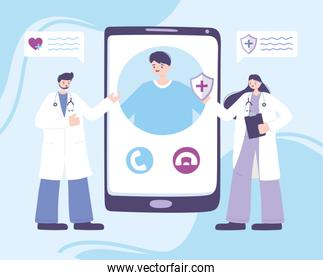 online doctor, female and male physician talking patient smartphone, medical advice or consultation service