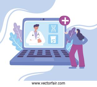 online doctor, patient meeting a physician online using a laptop technology, medical advice or consultation service