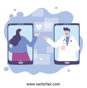 online doctor, female physician and patient smartphone medical support advice or consultation service