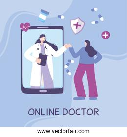 online doctor, female physician video support patient smartphone medical advice or consultation service
