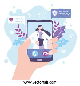 online doctor, hand with smartphone female practitioner in video medical advice or consultation service