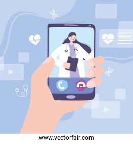 online doctor, hand holds a smartphone with an online clinic app medical advice or consultation service