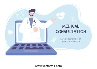 online doctor, male doctor on the computer screen medical advice or consultation service