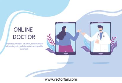 online doctor, patient consultation to physician via smartphone, medical advice service