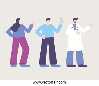 online doctor, physician female and male patients with smartphone, medical advice or consultation service
