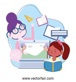online education, teacher and student girl computer lesson, website and mobile training courses