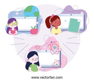 online education, student girls tablet computer book apple science, website and mobile training courses