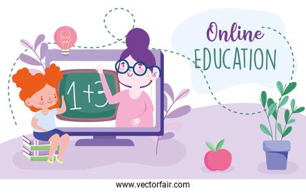 online education, teacher in computer and student girl sitting on books, website and mobile training courses