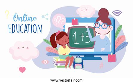 online education, teacher and student girl sitting on books class, website and mobile training courses