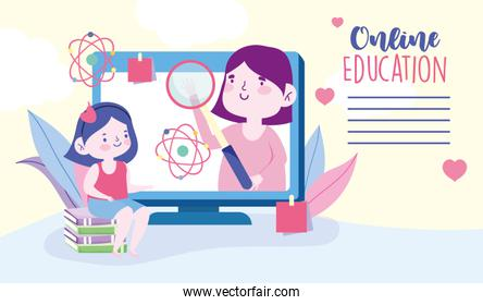 online education, teacher and student girl learning computer, website and mobile training courses