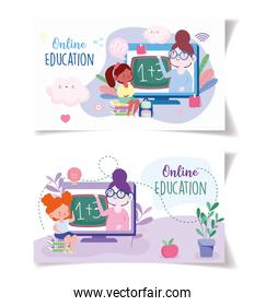 online education, teacher and students backpack and books, website and mobile training courses