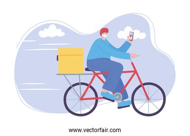 online delivery service, man in bike with mask and smartphone, fast and free transport, order shipping