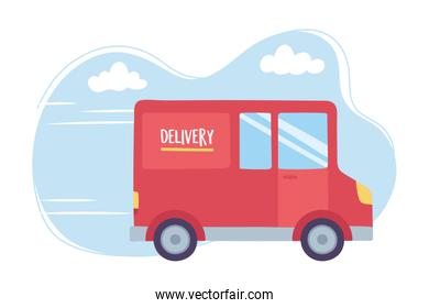 online delivery service, truck transport logistic, fast and free transport, order shipping