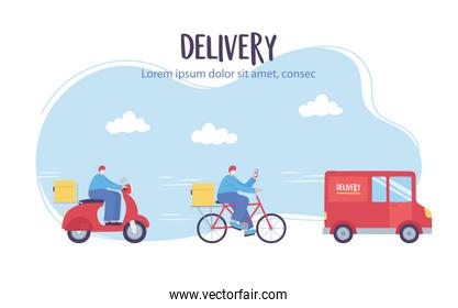 online delivery service, man in scooter bike and truck, fast and free transport, order shipping