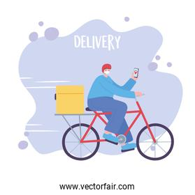 online delivery service, man riding bicycle with mask and smartphone, fast and free transport, order shipping