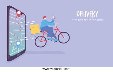online delivery service, man on a bike, app on a smartphone tracking, fast and free transport,