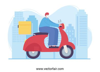 online delivery service, man riding motorcycle in street city, fast and free transport, order shipping