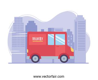 online delivery service, truck transport city street, fast and free transport, order shipping