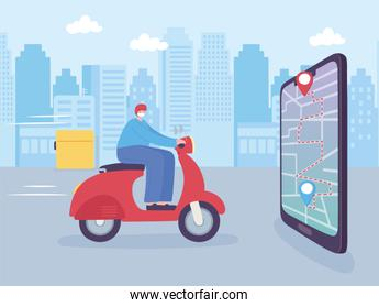 online delivery service, man in moped smartphone navigation map, fast and free transport, order shipping, app website