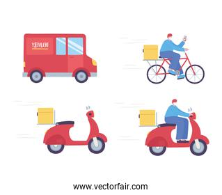 online delivery service, truck bike scooter man smartphone, fast and free transport, order shipping