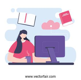 online training, girl with computer studying, courses knowledge development using internet