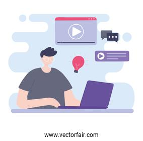 online training, boy with glasses and laptop, courses knowledge development using internet