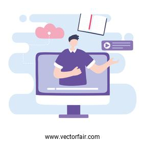 online training, computer video conference man, courses knowledge development using internet
