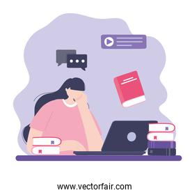 online training, girl with laptop and books education, courses knowledge development using internet