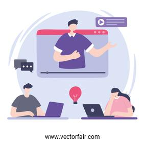 online training, man in video teaching people with laptop, courses knowledge development using internet
