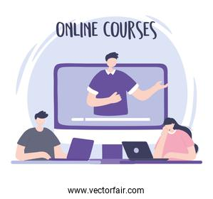 online training, man in video webinar people with laptop, courses knowledge development using internet