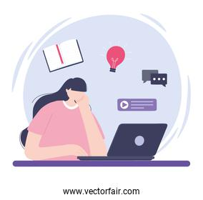 online training, girl studying with laptop, courses knowledge development using internet