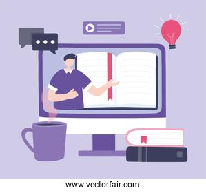 online training, man in video teaching computer lesson books, courses knowledge development using internet