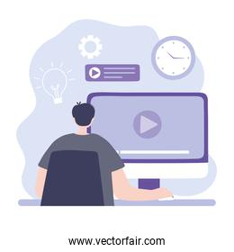 online training, man in computer studying, courses knowledge development using internet