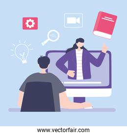 online training, man looking video woman in seminar, courses knowledge development using internet