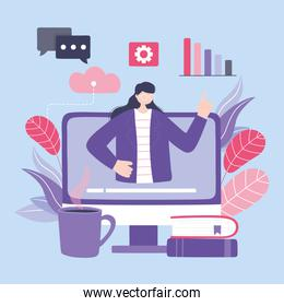 online training, woman in computer video education, courses knowledge development using internet